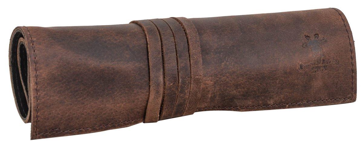 Gusti Leder studio 'Rokko' Estuche Plegable de Cuero para Herramientas Intrumentos de Pintura Pinceles Lá pices Colores Costura Agujas Bricolaje Carpinterí a 2A97-26-3
