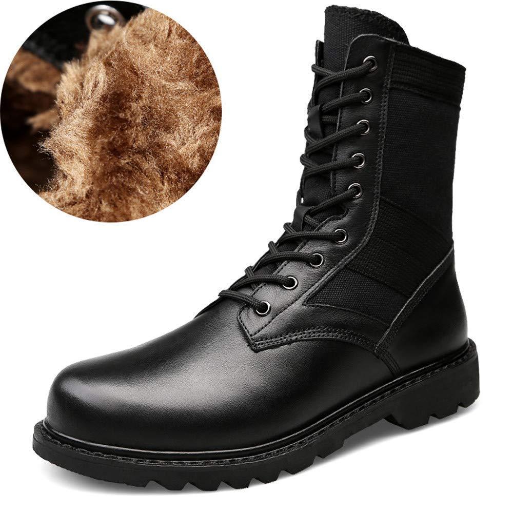 Fuxitoggo Herrenmode Stiefel Mitte-Kalb, lässig aus echtem Leder für große Martin Stiefel (warme Velvet optional) (Farbe   Warm schwarz, Größe   44 EU) (Farbe   Wie Gezeigt, Größe   Einheitsgröße)