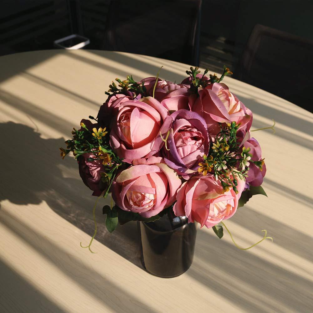 Purple/&Pink HiiARug 2-Pack 7 Heads Artificial Flower Bouquets Vintage Rose Wedding D/écoration Bride Holding Bouquet