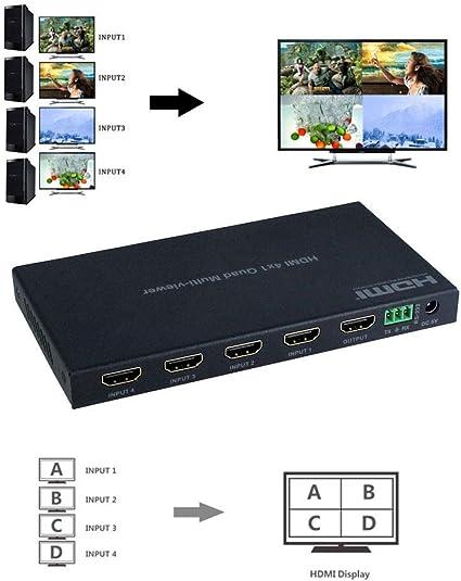 1080P HDMI Switcher  4x1 Audio Video Splitter PS3 Multiviewer Remote Control
