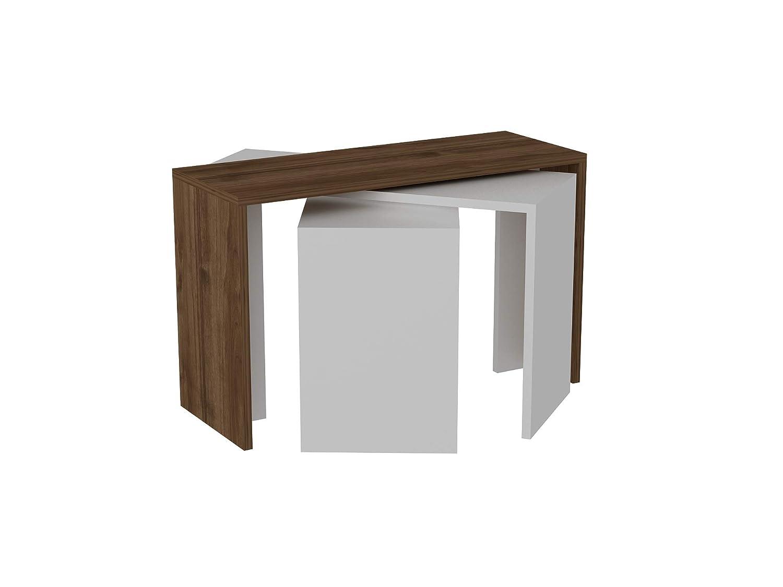 Alphamoebel Couchtisch Beistelltisch Wohnzimmertisch Sofatisch Kaffeetisch, Möbelstück für Wohnzimmer I Cango 3405 I Weiß Walnuss I 80 x 29,5 x 45 cm I 3er Set
