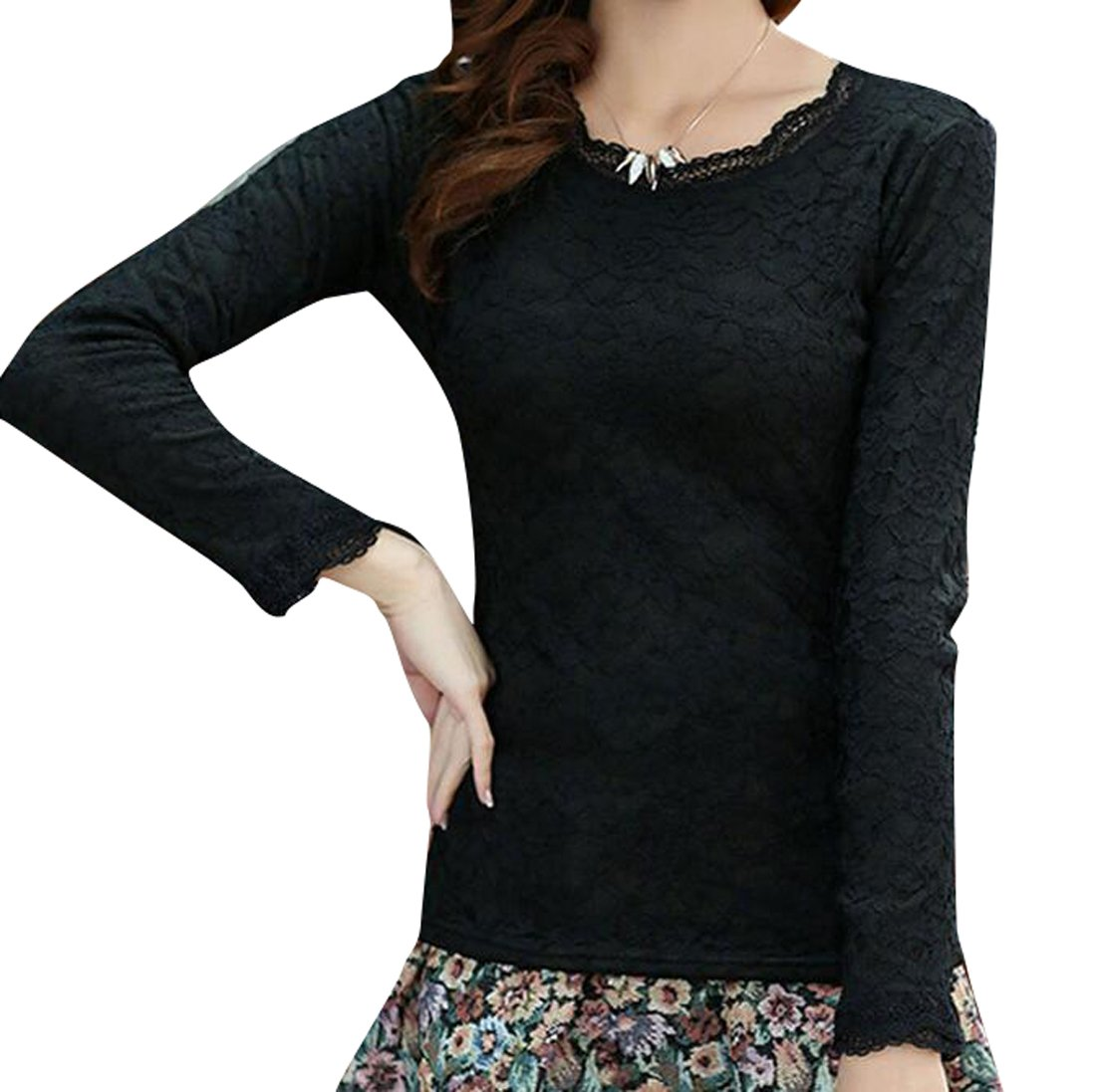 Oberora-Women Casual Long Sleeve Fleece Lined Thicken Thermal Shirt Blouse Tops Black L
