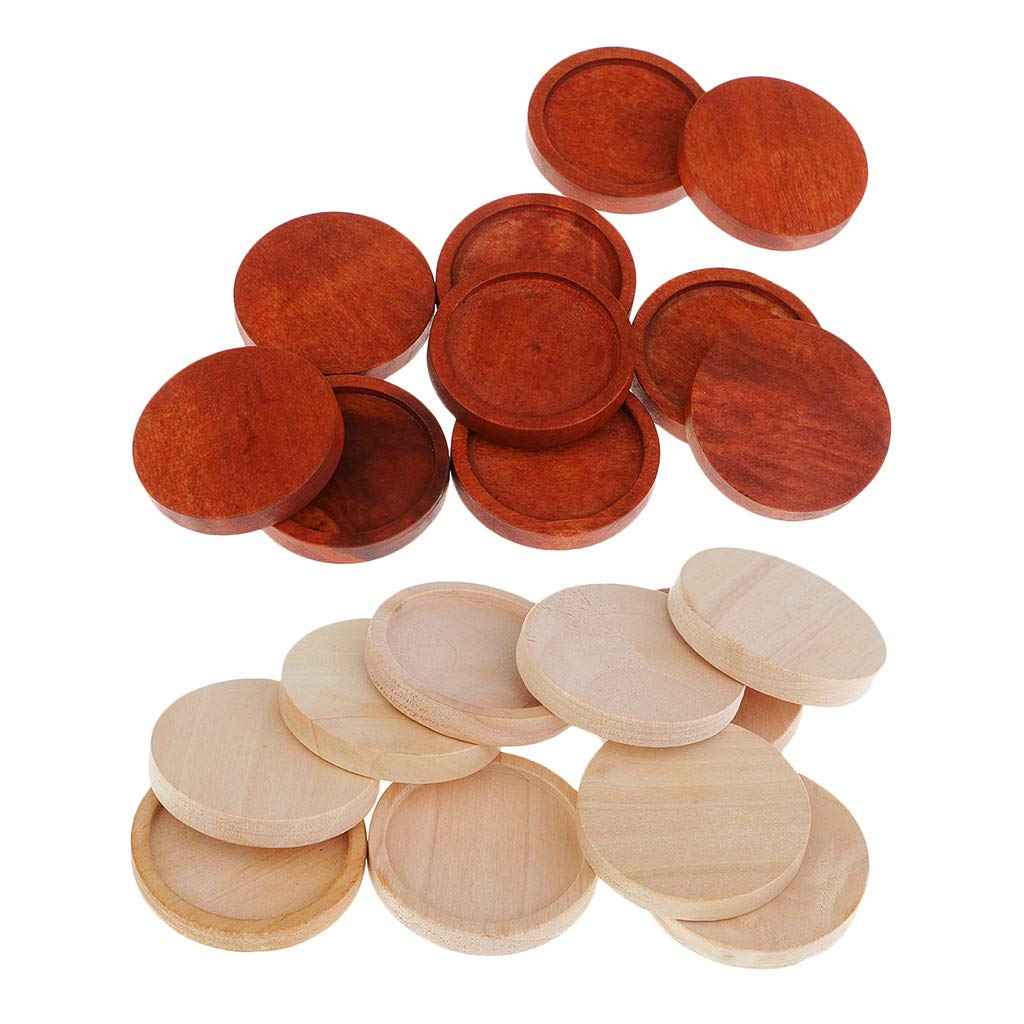 Bezel 30pcs 25mm inner Antique Wooden Wood Cameo Cabochon Base Setting Tray