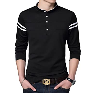 91ea9f94 Men's Polos Solid Long-Sleeve Casual Slim fit Cotton Fashion Polo T ...