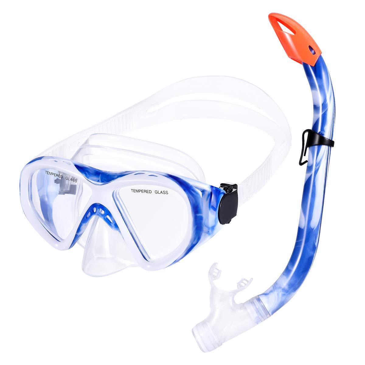 UK Kids Diving Snorkel Set Anti Fog Goggles Swimming Dry Tube Snorkeling Scuba
