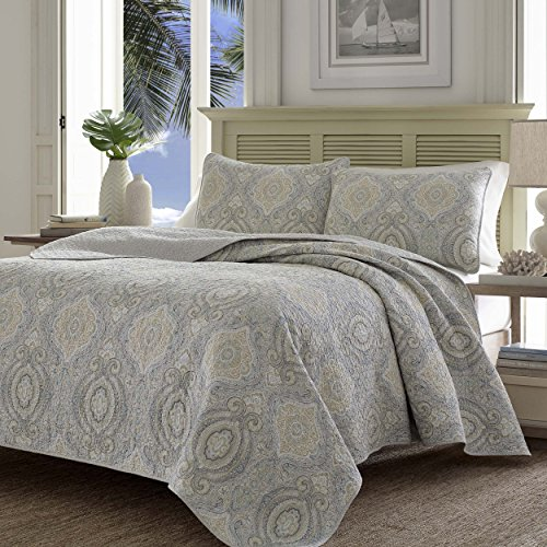 Tommy Bahama 220121 Turtle Cove Reversible Quilt Set,Pelican Gray,Twin by Tommy Bahama