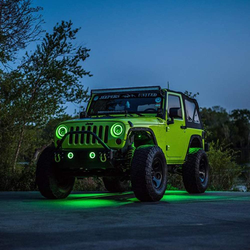 4 Fog Lights for Jeep Wrangler JK TJ LJ CJ Rubicon Sahara Willys Hummer H1 H2 7 Round CREE LED Headlights with Halo White DRL /& Amber Turn Signal