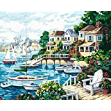 New Paint by Number Framed, Digital Oil Painting with Frame + Sunshine Sea Beach 16 X 20 inch + Diy Oil Painting Kits on Canvas for Adults Beginner Kids PBN with Wooden Frame Woods