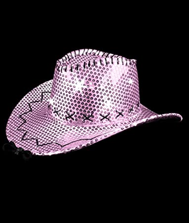Image Unavailable. Image not available for. Color  LED Sequin Cowboy Hat  with Stitching - Pink 177c5ebb9fdc