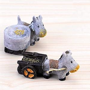 XINDAN Mini Stone Craft Donkey DIY Accessories Pull Cart Figurines Micro Landscape Fairy Garden Miniature(2pcs Set)