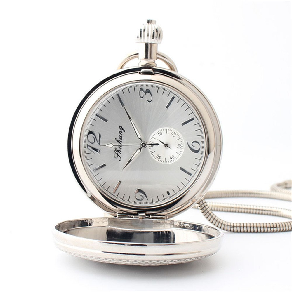 Zxcvlina Classic Smooth Mechanical Pocket Watch Boutique Silvery Retro Carved Unisex Pocket Watch with Chain for Gift Suitable for Gift Giving by Zxcvlina (Image #4)