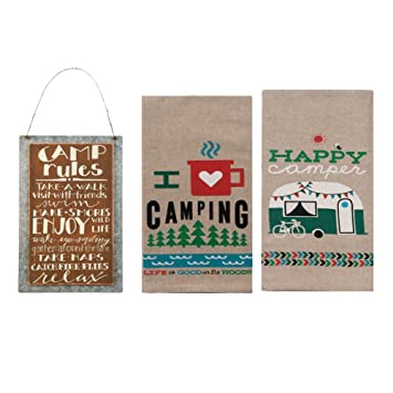 Rv Decor Accessories Set Camping Adventures Kitchen Towels And Camping Rules Sign