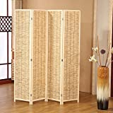 Decorative Beige Wood & Bamboo 4 Panel Privacy Screen / Freestanding Folding Partition Room Divider
