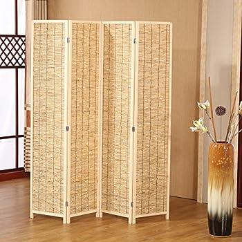Amazoncom Decorative 4 Panel Wood Bamboo Folding Room Divider