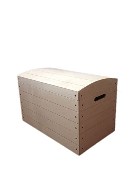 Large Pirate Chest Unpainted Wooden Chest Box Toy Trunk Storage Unfinished  Toy Box 56.5x 33x