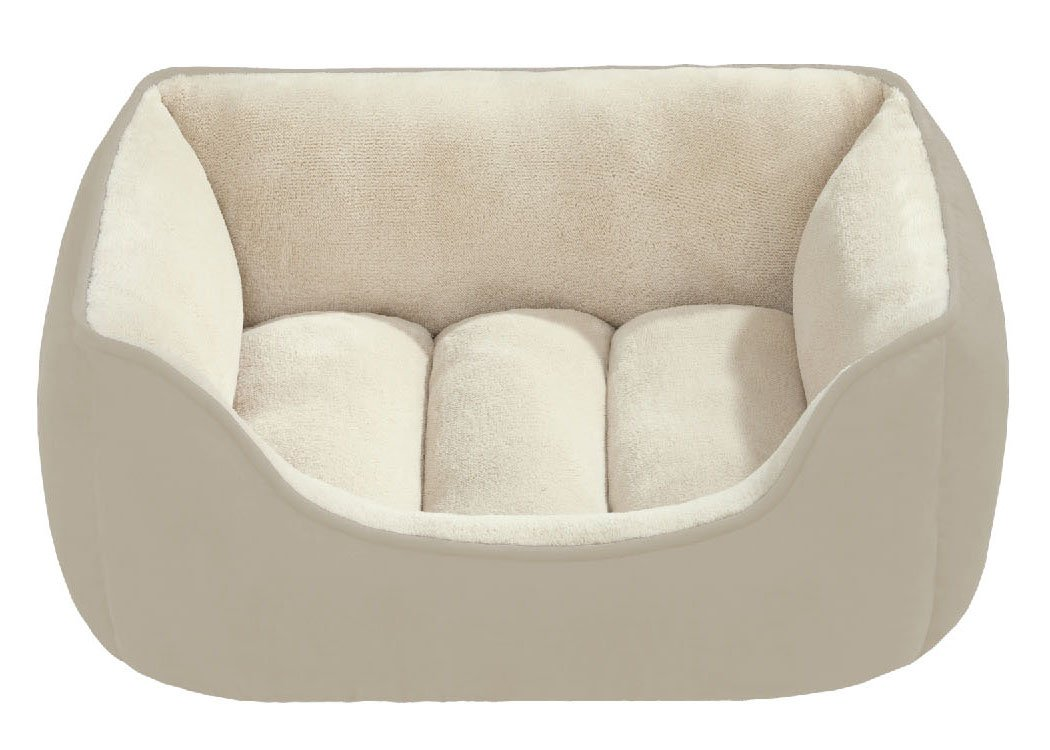 Beatrice Home Fashions SUEPTB24TIV Suede Reversible Cuddler Bed for Dogs/Cats/Pets, Taupe/Ivory