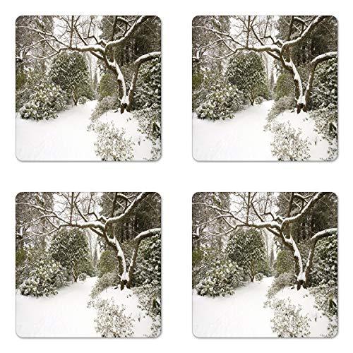 Lunarable Winter Scene Coaster Set of 4, Photo of Calm Snowy Landscape in Portland Park Oregon USA, Square Hardboard Gloss Coasters, Standard Size, Dark Taupe Army Green (Furniture Oregon Portland Patio)