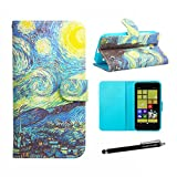 Nokia Lumia 630 Case, Lumia 635 Wallet Case - Van Gogh The Starry Night Painting Pattern Premium PU Leather Wallet Case Stand Cover with Card Slots Cash Compartment for Nokia Lumia 630 Nokia Lumia 635 + CoolGiftCase Stylus
