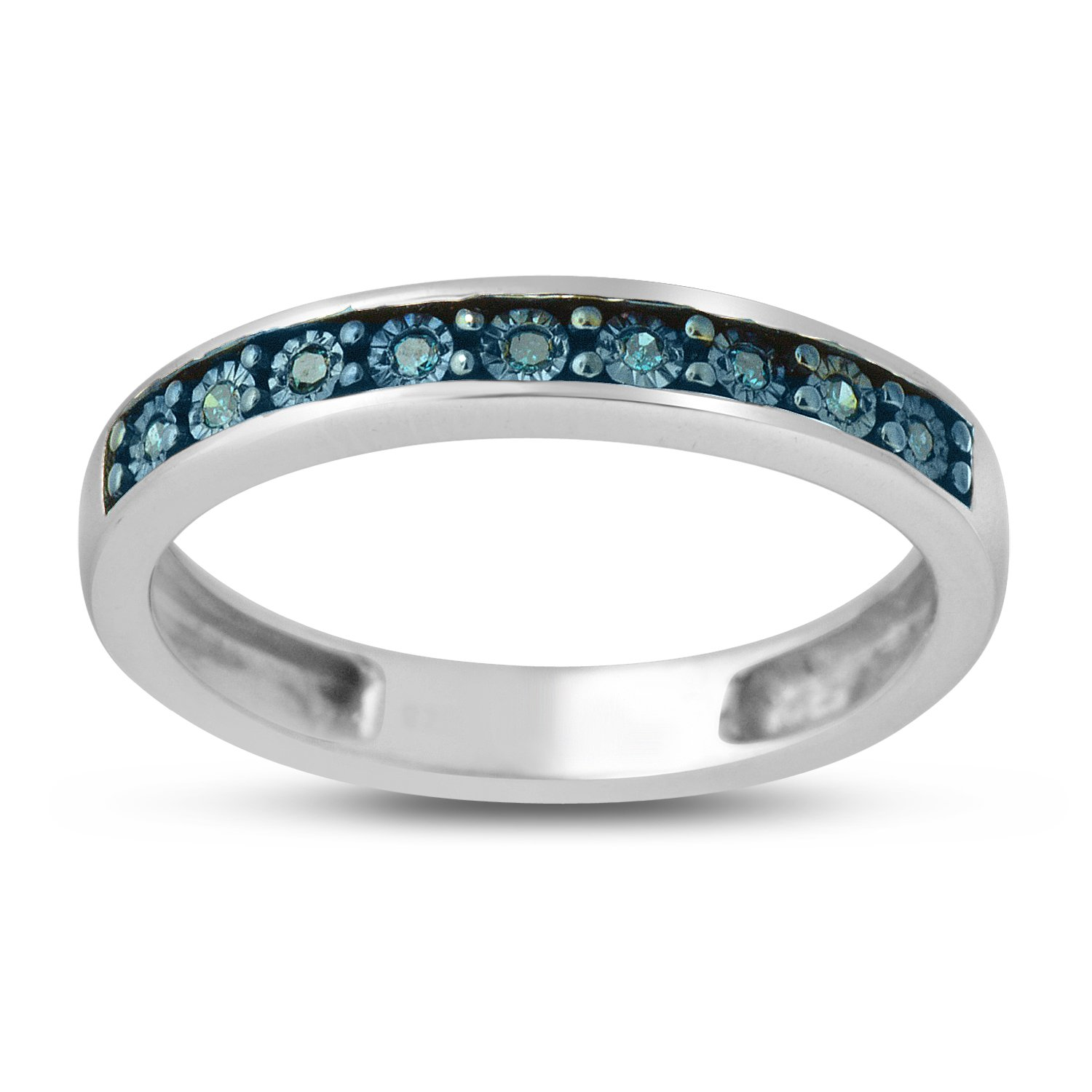 0.05 CTTW Sterling Silver Blue Diamond with illusion plate band