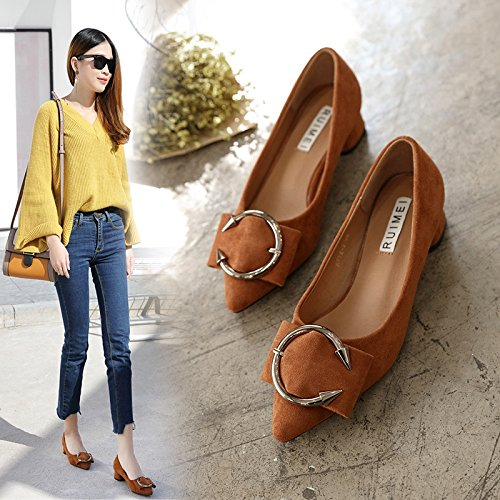 Single KPHY Caramel Four Thick Buckle Heel Spring Early Low color Shoes Metal Spring Velvet Medium Heel Buckle Heel Pointed Seasons Shoes WnqEnp
