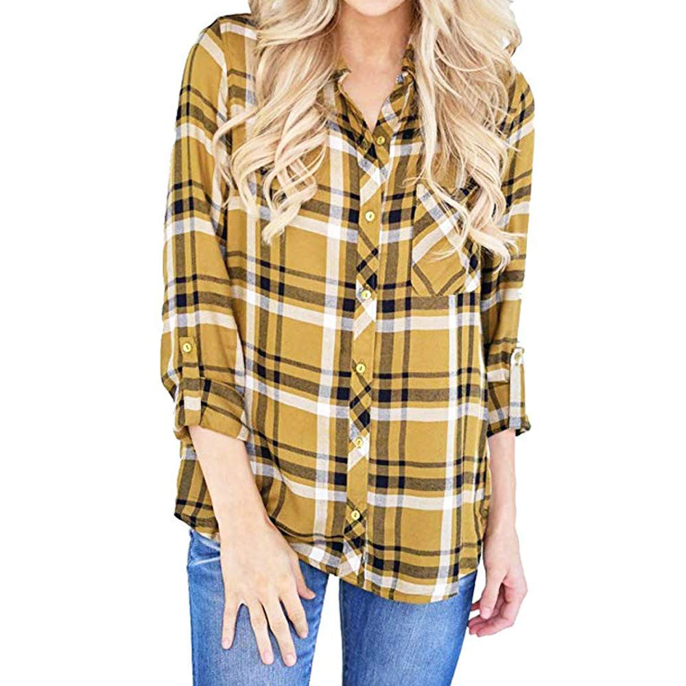 e947f3f3 vermers Clearance Women Shirts, Women Plaid Printed Button Down Blouse  Casual Long Sleeve Turn-Down Collar Tops Clothes at Amazon Women's Clothing  store: