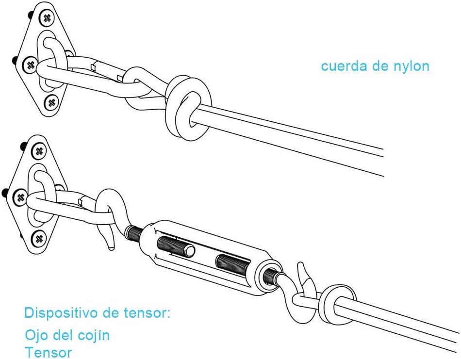 5mm Patio HCLKSTORE Kit de Montaje para Toldo Cuadrado o Rect/ángulo Kit de Hardware Kit de Accesorio de Vela de Sombra Accesorios de Fijaci/ón de Acero Inoxidable para Jard/ín