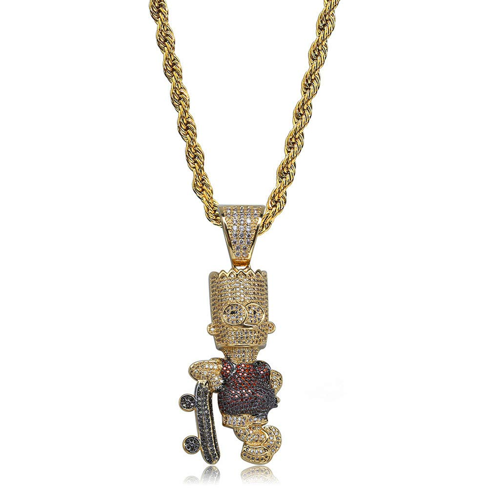 Jewelrysays Hip Hop Men CZ Jewelry Colored Zircon Gold Cute Cartoon Vintage Necklace(Rope Chain)