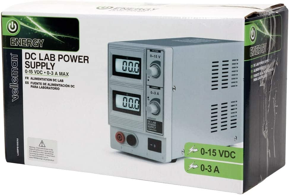 Velleman LABPS1503U DC LAB POWER SUPPLY 0-15 VDC 0-3 A MAX WITH DUAL LCD