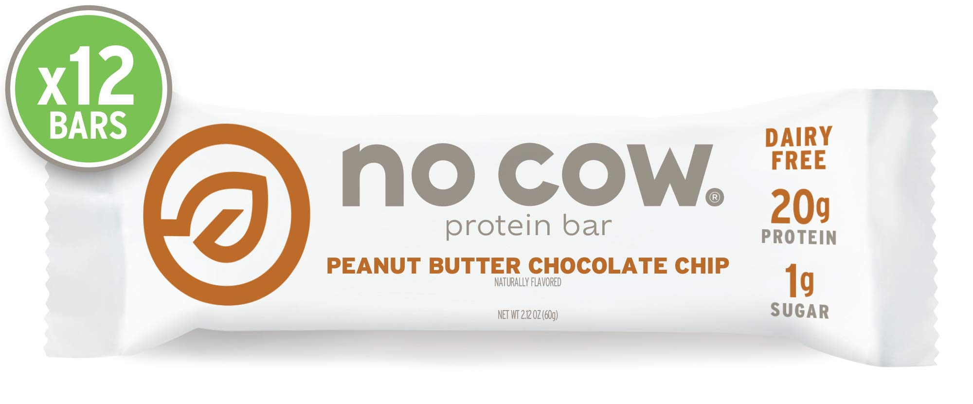 No Cow Protein bar, Peanut Butter Chocolate Chip, 20g Plant Based Protein, Keto Friendly, Low Sugar, Dairy Free, Gluten Free, Vegan, High Fiber, Non-GMO, 12Count by No Cow