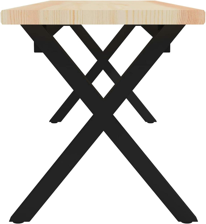 Longueur x Largeur x Hauteur Mod/èle 3 Pieds en Acier Enduit de Poudre Doneioe Banc Pratique en pin en Bois Massif de Style Industriel Banc dint/érieur en pin de Style r/étro 135 x 40 x 45 cm
