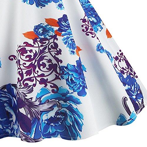 Col Rond Vintage Femmes Charmma Manches Robe À Fleurs Swing Imprimé Avec Ceinture Bleue