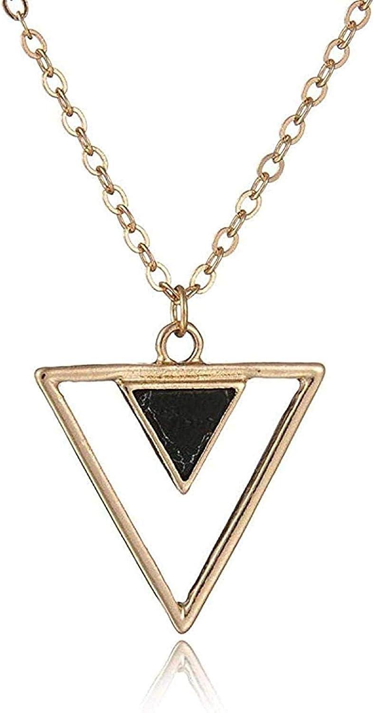 Yaoliangliang Collar Personalidad Simple triángulo geométrico Piedra de Pino Negro Novias Novia para Enviar joyería Perfecta Regalo