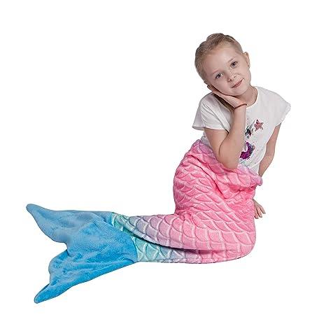 Manta de Cola de Sirena para niños, Tela de Franela Suave, Saco de Dormir