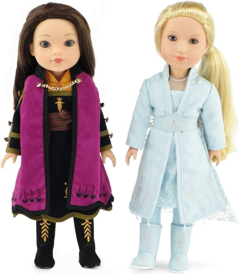 Emily Rose 14 Inch Doll Clothes for American Girl Wellie Wisher | Princess Elsa and Anna Frozen 2 Inspired 11 PC Doll Outfit Set | 14 Inch Doll Clothes for Glitter Girls and Similar Dolls