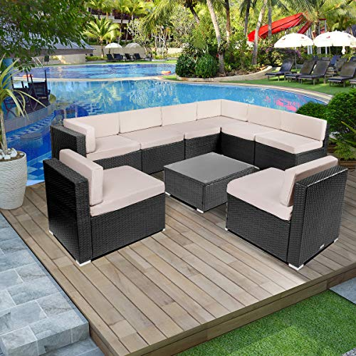Esright 9 Pieces Patio PE Rattan Wicker Sofa Sectional Furniture (Black) (Outdoor Sectional Piece 9)