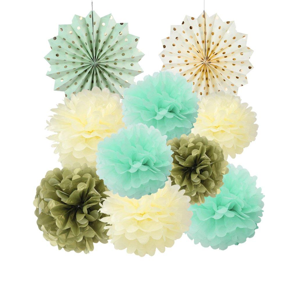 Papier Soie Pompom Menthe Creme Or Rosace Kit Decoration Mariage Bapteme Anniversaire LTD ST-GMC