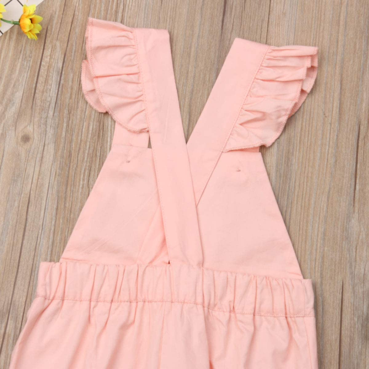 Aunavey Baby Girls Little Kids Long Suspender Pants Overall Elastic Pink Strap Pants