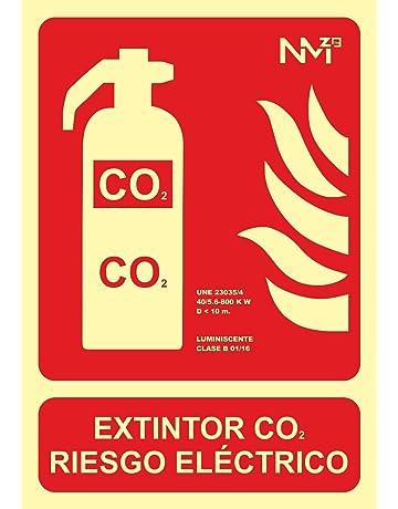 Normaluz RD00105 - Señal Luminiscente Extintor Co2 Riesgo Electrico Clase B PVC 0,7mm 21x30cm