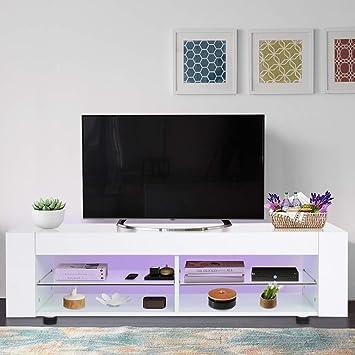 Mueble de TV de Madera con Luces LED y Estante de Almacenamiento para Sala de Estar, 120 x 37,5 x 34,5 cm, Color Blanco: Amazon.es: Electrónica