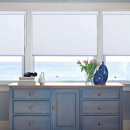 Kingmond Thermal Insulated 100 Blackout Waterproof Fabric Custom Window Roller Shades Blinds,74 W x 56 L, White