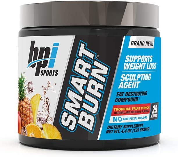 BPI Sports Smart Burn Weight Loss, Burn Fat, Energy Carnitine, CLA, Green Tea, Caffeine, Theobromine, Dynamine for Men Women No Artificial Colors Fruit Punch 25 Servings 4.4 oz.