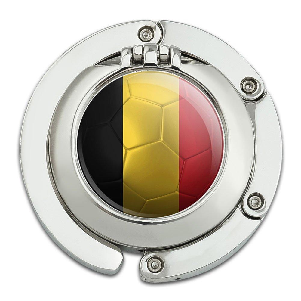 Belgium Flag Soccer Ball Futbol Football Foldable Table Bag Purse Caddy Handbag Hanger Holder Hook with Folding Compact Mirror