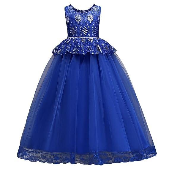 6429cd2a23c HUANQIUE Elégante Robe en Dentelle Princesse Demoiselle Fille Robe de  Mariage Cérémonie Soirée Enfant Broderie Fleur