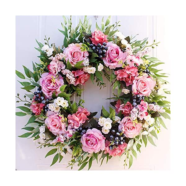 Artificial Rose Wreath|Fake Flower Round Wreath|Handcrafted Wreath Design|Greenary Floral Garland |22in Fake Leaves Wreath With Rose Flower| For Front Door Outdoor Indoor Garden Office Wedding Decor