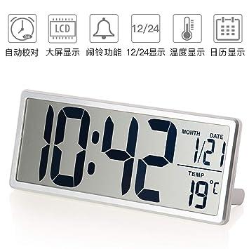 SMAERTHYB Reloj De Pared Digital Extra Grande Reloj De Alarma Electrónico De Diseño Moderno LCD Relojes De Mesa De Temperatura No Abreviada Grande: ...
