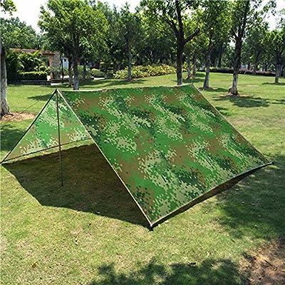 Camping Tarp 10 x 10 FT Waterproof Sunshade Tarp Cover Tent Shelter Camping Tarpaulin