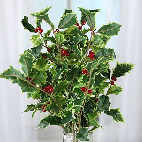 Factory Direct Craft Artificial Variegated Holly Leaf and...