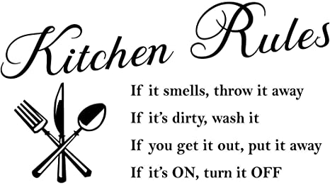 Amazon Com Kitchen Rules Words Wall Stickers Decal Home Decor Vinyl Art Mural Gold Home Kitchen