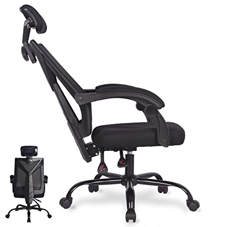Office Computer Desk Chair Ergonomic High Back Swivel Task Gaming Chair Adjustable Seat,Cushion Headrest,Breathable Mesh Back