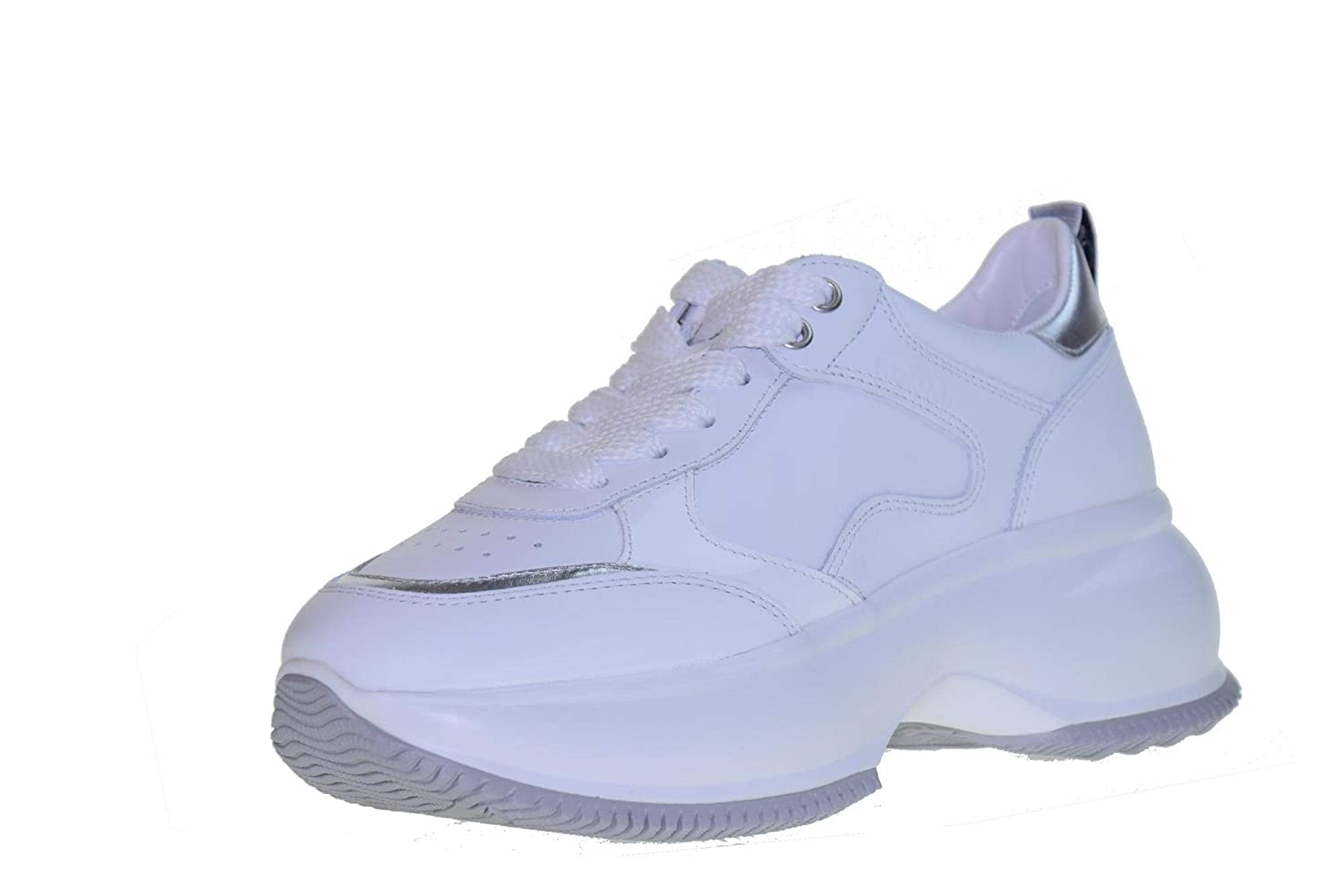 White   silver Hogan shoes Woman Low Sneakers with Platform HXW4350BN50IEC0351 Maxi White Silver